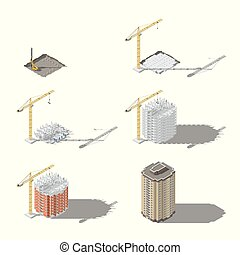 Stages of construction of a high-rise building isometric icon set