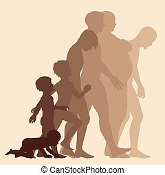 Stages of man - Editable vector silhouette sequence of the ...