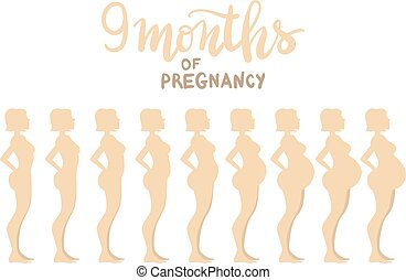 "Stages of pregnancy 9 months. Woman side view. Cartoon vector illustration. Inscription: ""9 months of pregnancy"""