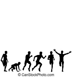 Stages of victory in the race - Set of silhouettes of a...