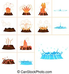 Stages of Volcanic Eruption and Water Splash Set