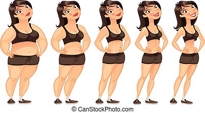 Stages of weight loss of a young woman from fat to slim....