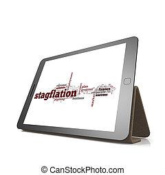 stagflation, woord, wolk, op, tablet