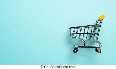 staggered, 買い物, 青, スペース, カート, コピー