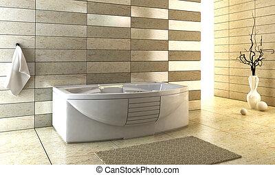staggered, tiled, ontwerp, van, de, badkamer