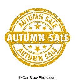 stagionale, autunno, schizzo, francobollo, vendita, gomma