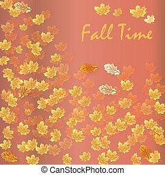 stagionale, banner., illustrazione, autunno, vettore, tempo