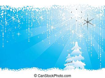 stagionale, blu, grunge, inverno, elements., albero, fondo, /, cerchi, stelle, natale