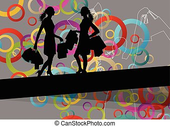 stagionale, borse, shopping, astratto, illustrazione, silhouette, fondo, attivo, donne
