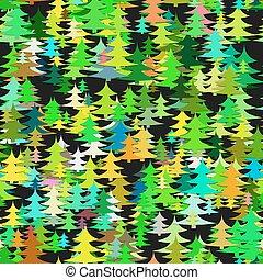 stagionale, caotico, albero, astratto, -, pino, vettore, illustrazione, fondo
