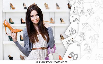 stagionale, custodia, donna, vendita, pompa, elegante