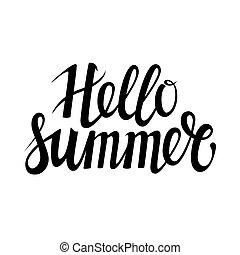 stagionale, estate, o, vettore, disegnato, invito, iscrizione, ciao, isolato, mano, fondo., holiday., altro, sagoma, festa, frase, bianco, calligrafia, texture., scheda, augurio