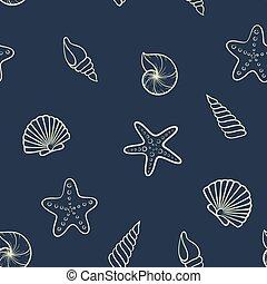 stagionale, estate, seashell, pattern., travel., seamless, vacanze, spiaggia, disegno, invito, feste, vacanza, turismo, scheda, augurio