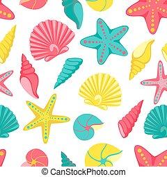 stagionale, estate, seashell, viaggiare, pattern., seamless, augurio, vacanze, spiaggia, disegno, invito, feste, vacanza, turismo, scheda