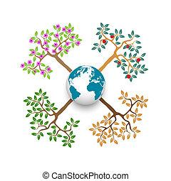 stagionale, globo, albero