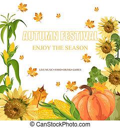 stagionale, mascherine, raccogliere, autunno, zucche, vector., bandiera