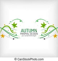 stagionale, scheda, augurio, autunno, disegno, minimo