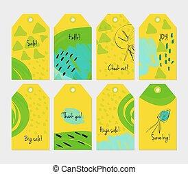 stagionale, set, dente leone, giallo, etichetta, verde, sketched, floreale