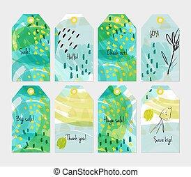 stagionale, set, giallo, etichetta, verde, bacca, sketched, floreale