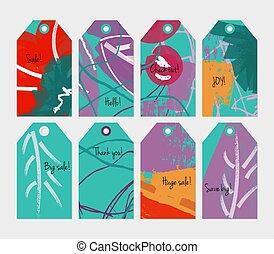 stagionale, set, scribbles, viola, etichetta, verde, floreale, rosso
