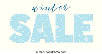 stagionale, vendita, bandiera, inverno, neve
