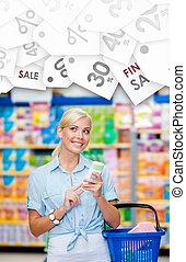 stagionale, vendita, hands., ragazza, mercato, cosmetica