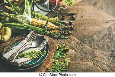 stagionale, verdura, ringraziamento, regolazione, cadere, ...