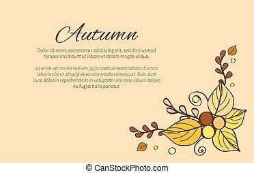 stagione, augurio, autunno, decorato, composizione, scheda