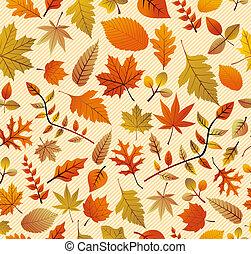 stagione caduta, varietà, di, albero, foglie, seamless,...