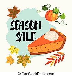 stagione, foglie, torta, vendita, cadere, bandiera, zucca