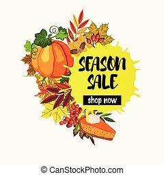 stagione, foglie, vendita, torta, disegno, cadere, zucca