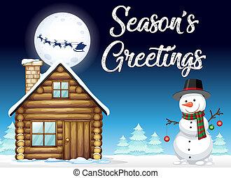 stagione, inverno, sagoma, neve