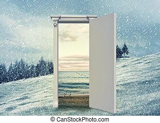 stagione, porta, aperto, un altro