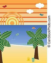stagione, spiaggia, retro, paesaggio, estate