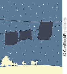 stagione, uggia, vestiti, inverno, appendere