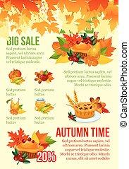 stagione, vendita, autunno, disegno, sagoma, grande, bandiera