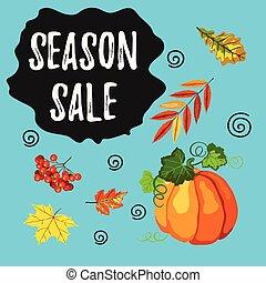 stagione, vendita, foglie, rowan, cadere, bandiera, zucca