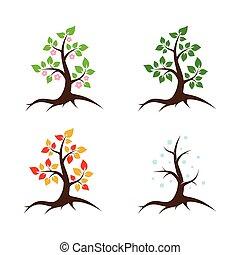 stagioni, vettore, illustrazione