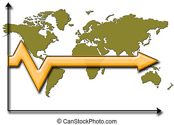 stagnated future arrow - Arrow over world map showing...