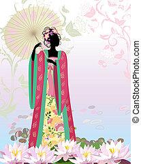 stagno, ragazza, ombrello, cinese