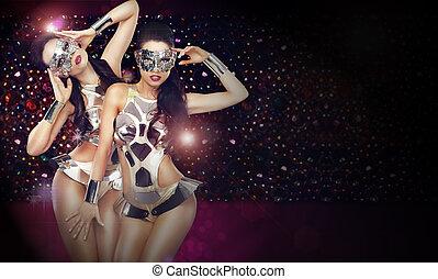 stagy, dançar, sobre, trajes, club., dois, fundo, trendy, discoteca, abstratos, mulheres