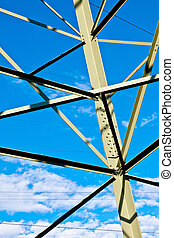 stahl, elektrizitätshochspannungsmast, auf, hell blau, himmelsgewölbe