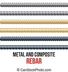stahl, endlos, rebars., verstärkung, composite.