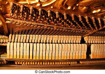 stahl, gebraucht, tune., -, innenseite, filz, wunde, bezug, streik, hämmer, aufrecht, knäufe, klavier