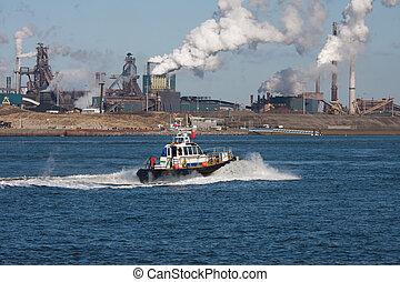 stahl, motorboot, fabrik, kueste, niederländisch, entlang