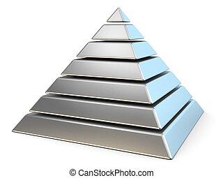 stahl, pyramide, mit, sieben, levels., 3d