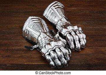 stahl, uralt, mittelalterlich, hölzern, detail, rüstung, hintergrund., handschuhe, armor.