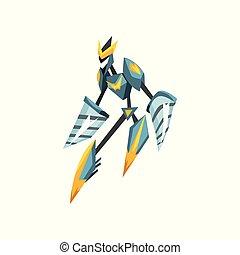 stahl, wohnung, transformator, monster, body., beweglich, metall, roboter, fantasie, spiel, vektor, warrior., bohrmaschiene, design, starke , hands.