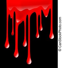 stain - illustration of dripping blood on black background
