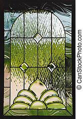 stain glass window in door of home